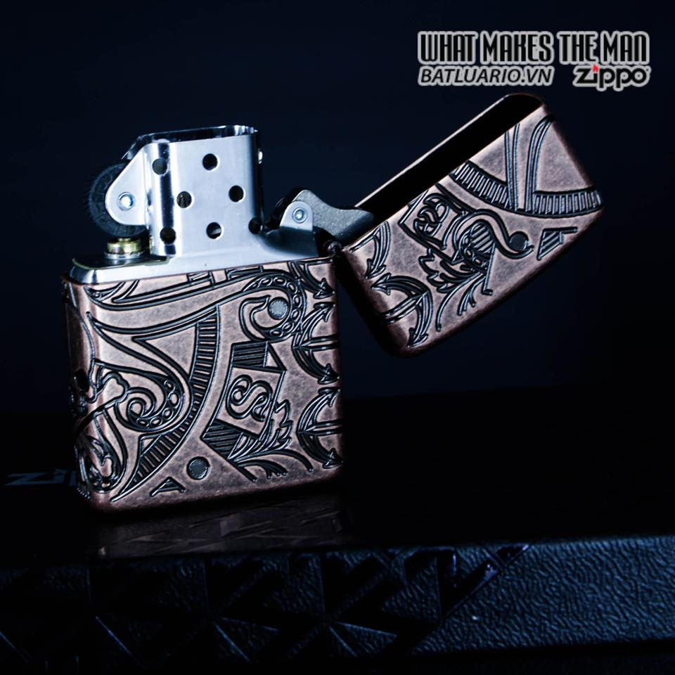 Zippo 49000 - Zippo Armor MultiCut Nautical Scene Antique Copper 12