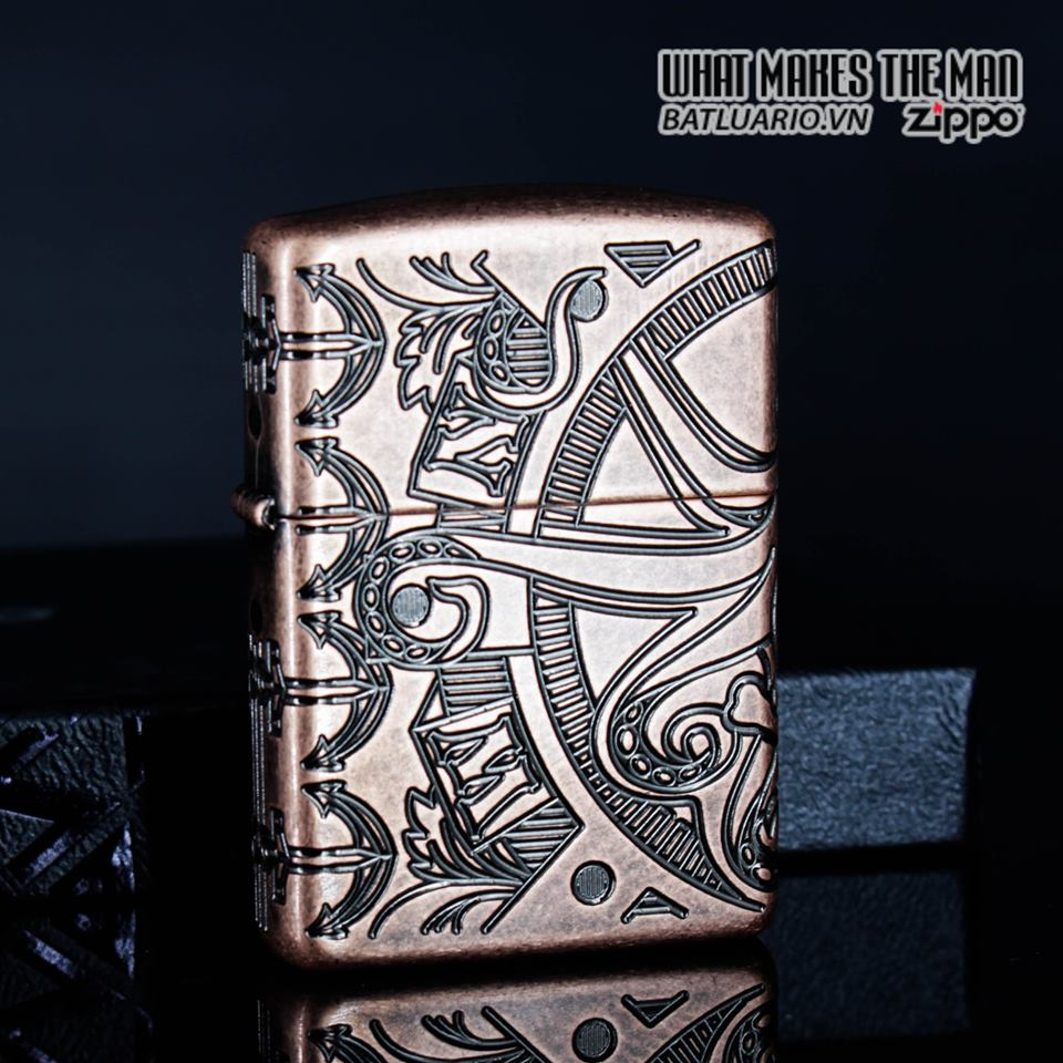 Zippo 49000 - Zippo Armor MultiCut Nautical Scene Antique Copper 15