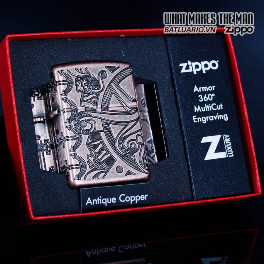 Zippo 49000 - Zippo Armor MultiCut Nautical Scene Antique Copper 2