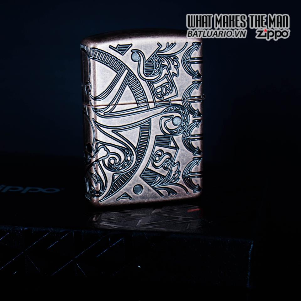 Zippo 49000 - Zippo Armor MultiCut Nautical Scene Antique Copper 4