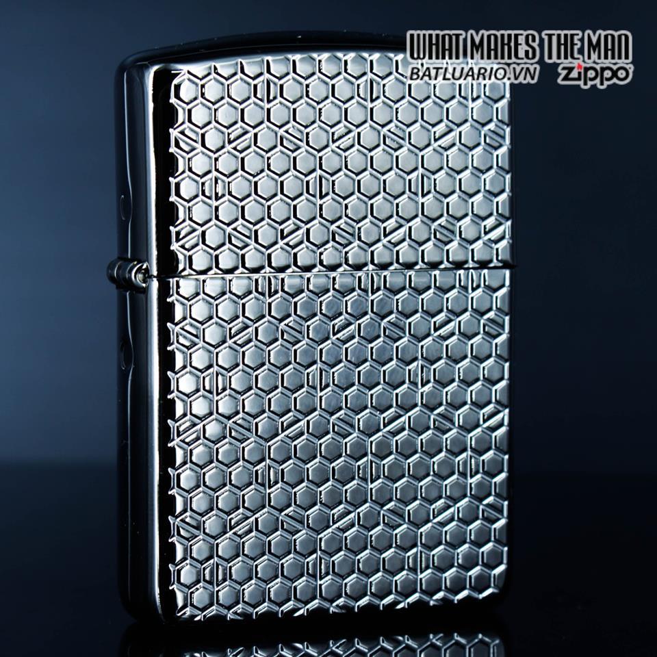 Zippo 49021 – Zippo Armor Hexagon Design Black Ice 1