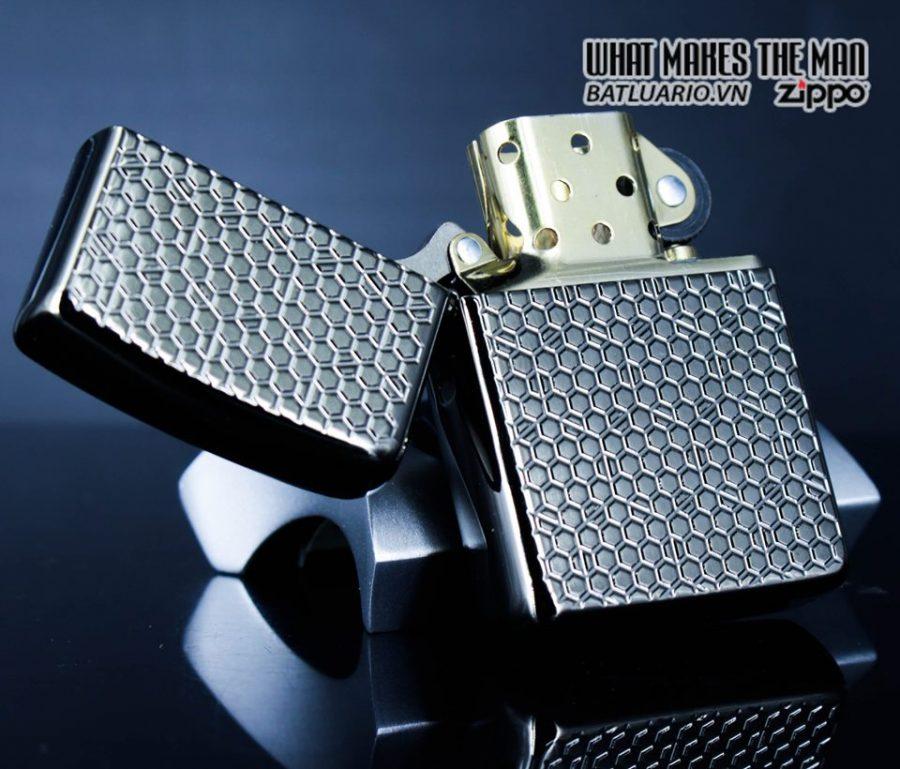 Zippo 49021 – Zippo Armor Hexagon Design Black Ice 13