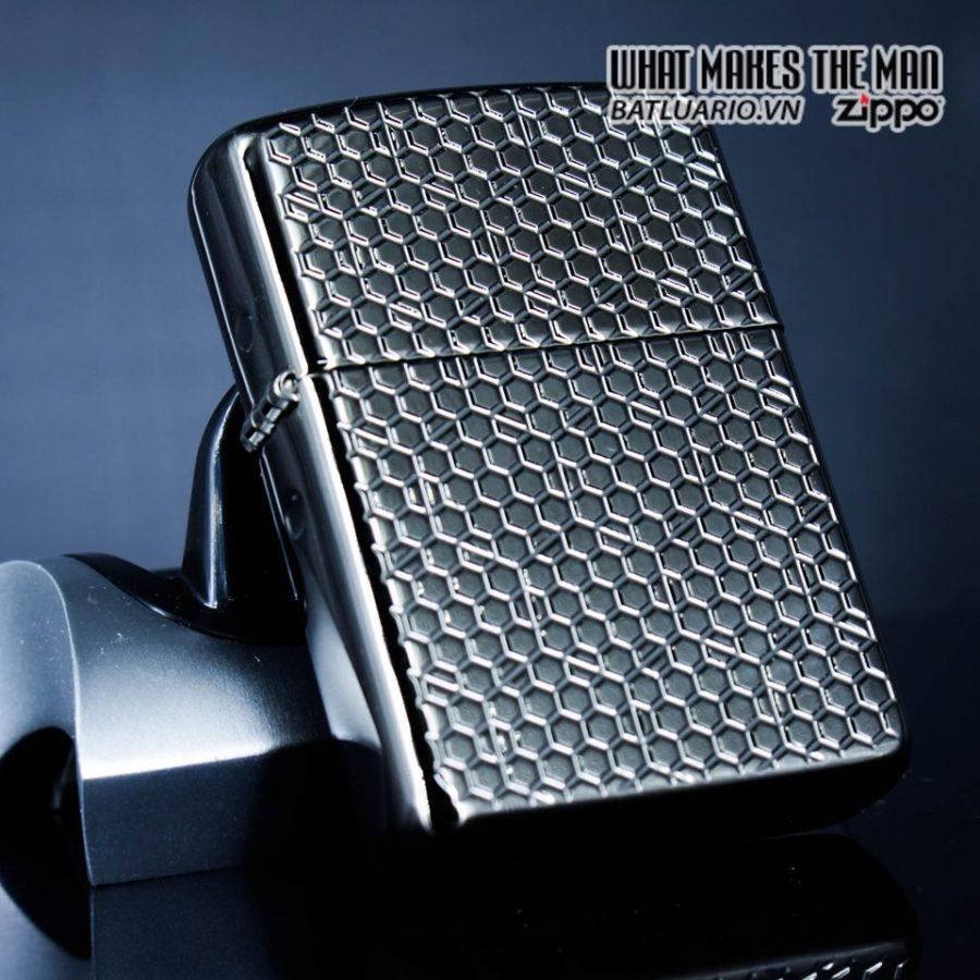 Zippo 49021 – Zippo Armor Hexagon Design Black Ice 14