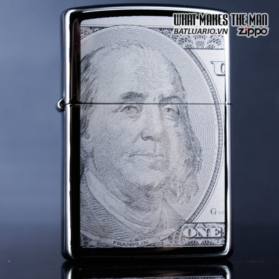 Zippo 49025 - Zippo Hundred Dollar Bill Black Ice 1