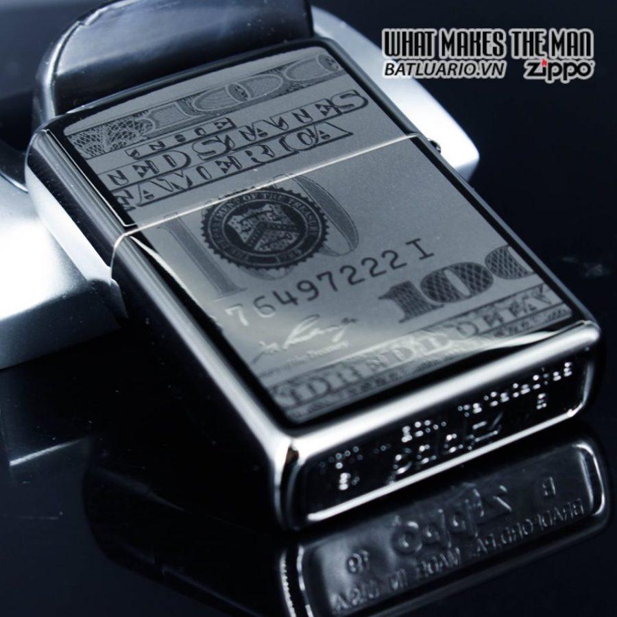 Zippo 49025 - Zippo Hundred Dollar Bill Black Ice 10