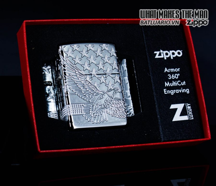 Zippo 49027 - Zippo Armor MultiCut Patriotic Eagle High Polish Chrome 2
