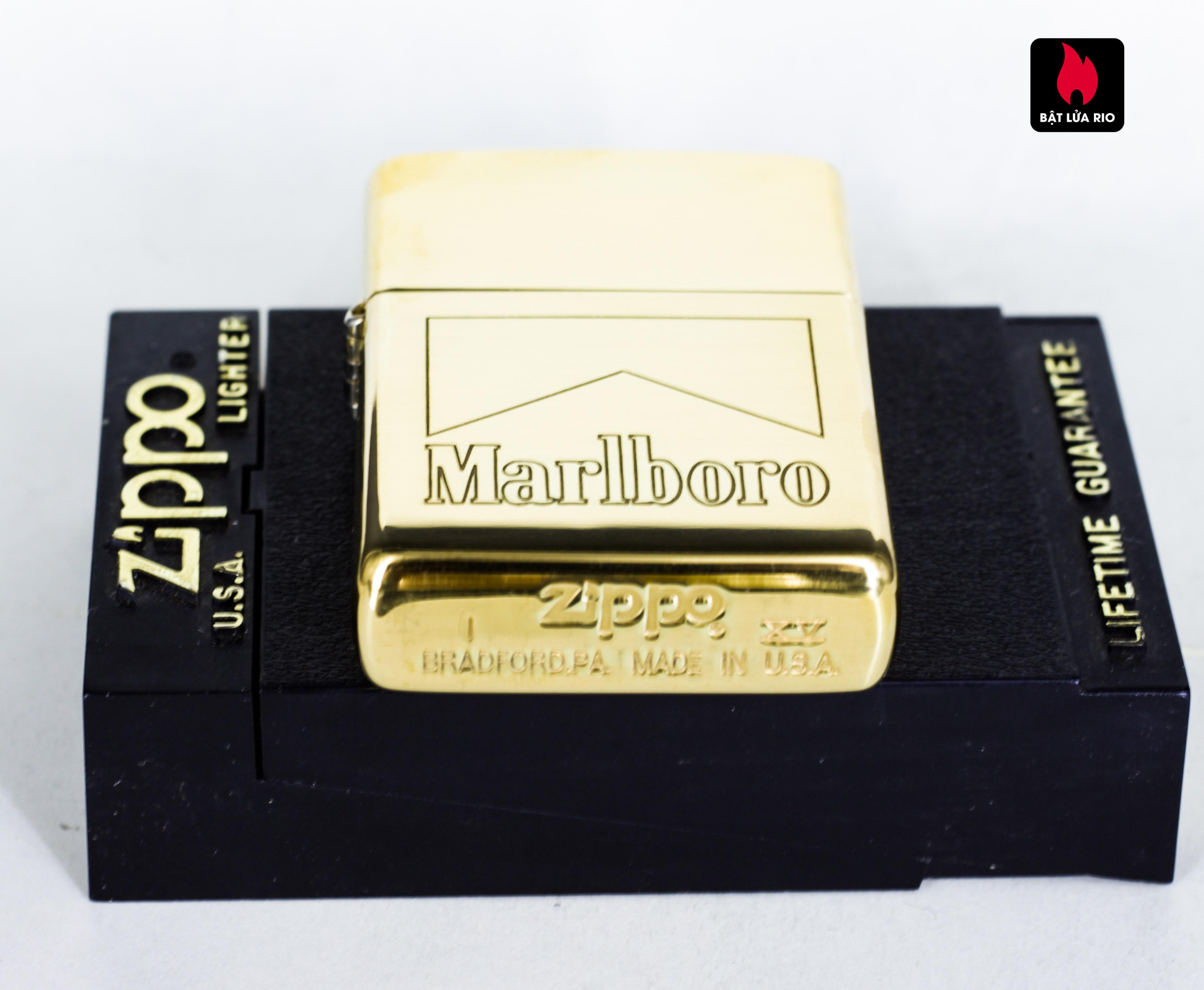 ZIPPO LA MÃ 1999 – MARLBORO – ĐỒNG NGUYÊN KHỐI - HIGH POLISH BRASS