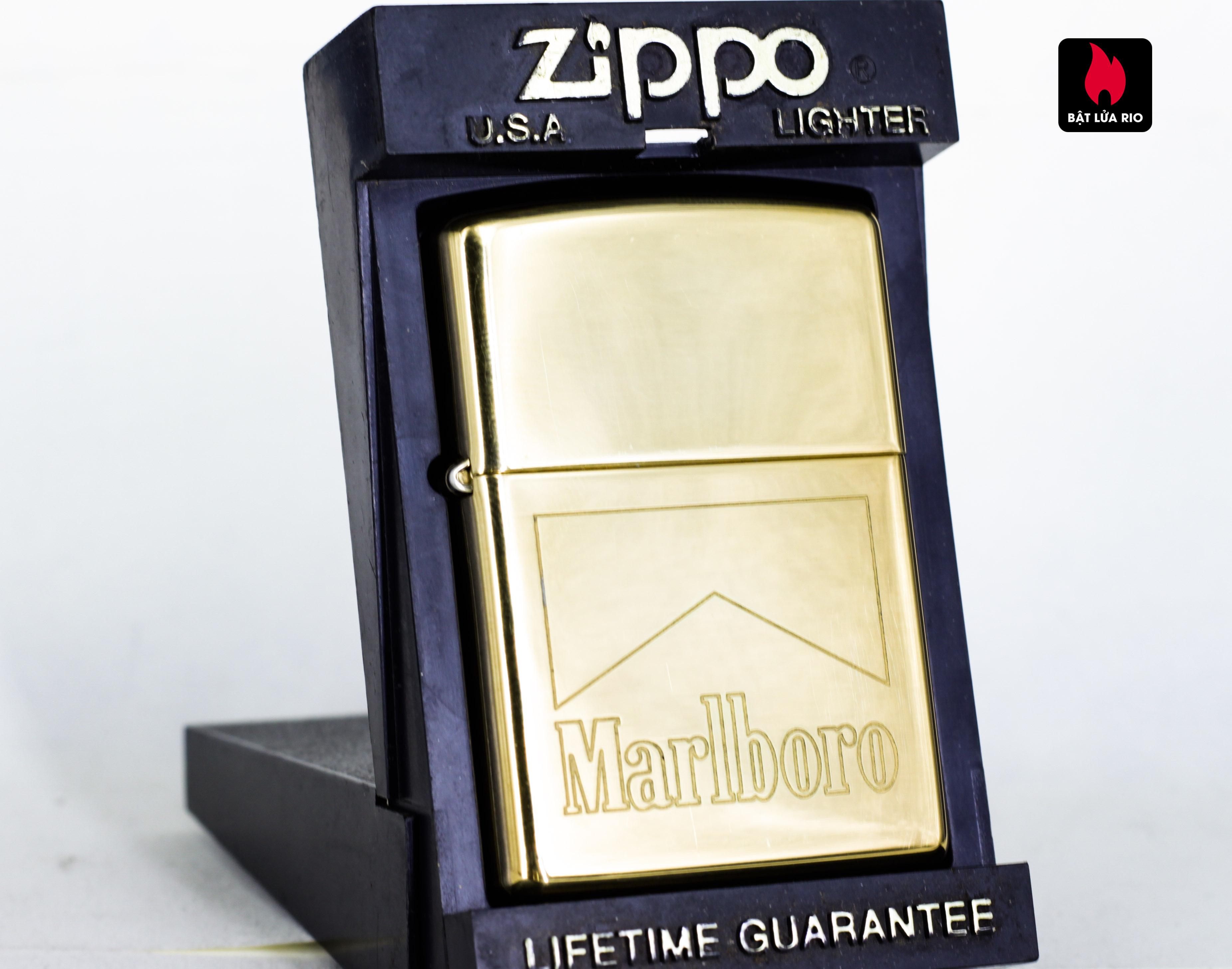 ZIPPO LA MÃ 1997 – MARLBORO – ĐỒNG NGUYÊN KHỐI – HIGH POLISH BRASS