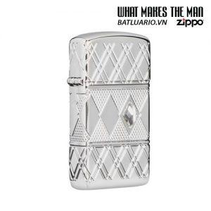 Zippo 49052 - Zippo Slim® Armor® Diamond Pattern Design High Polish Chrome