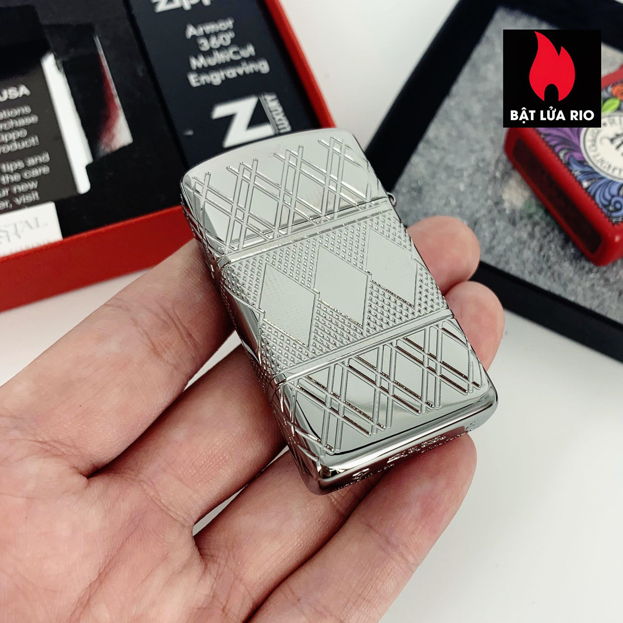 Zippo 49052 - Zippo Slim® Armor® Diamond Pattern Design High Polish Chrome 5