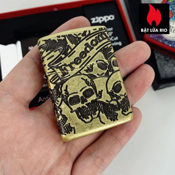 Zippo 49035 - Zippo Armor® Freedom Skull Antique Brass 360° MultiCut 2