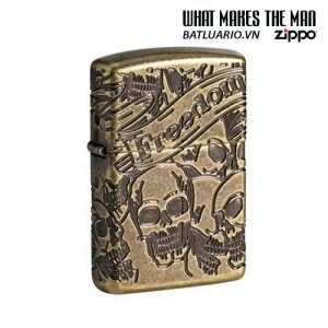 Zippo 49035 - Zippo Armor® Freedom Skull Antique Brass 360° MultiCut