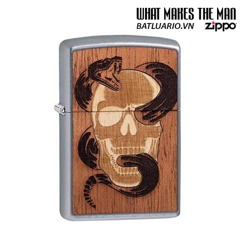 Zippo 49042 - Zippo WOODCHUCK USA Skull & Snake Street Chrome