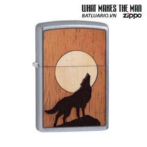 Zippo 49043 - Zippo WOODCHUCK USA Howling Wolf Street Chrome™