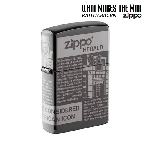 Zippo 49049 - Zippo Newsprint Design 360° Laser Black Ice®
