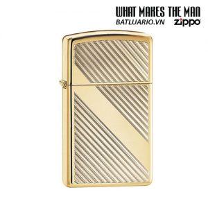 Zippo 29724 - Zippo Lines Design Slim Brass