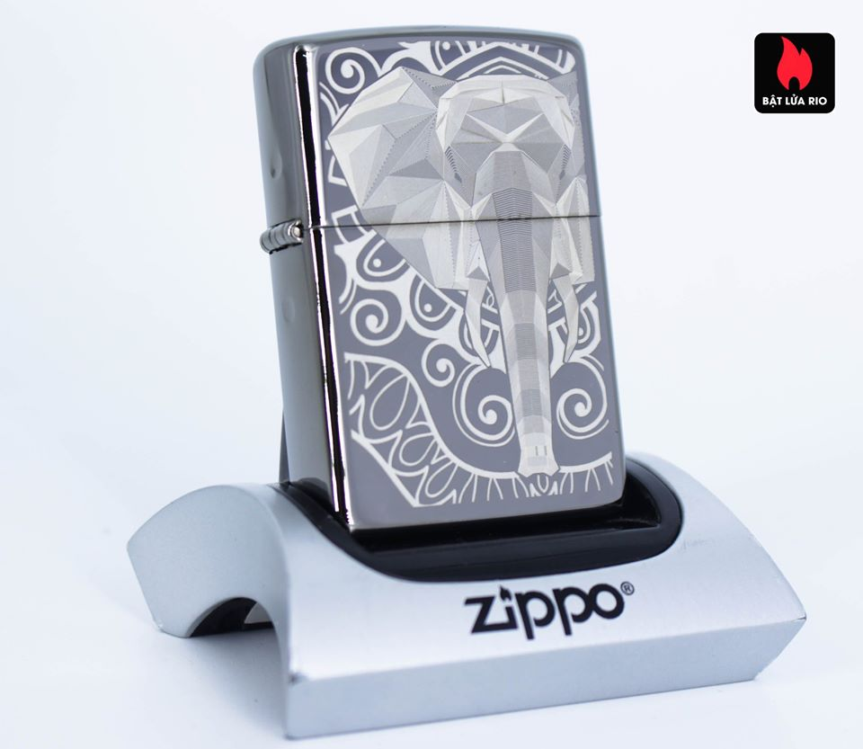 Zippo 49074 – Zippo Elephant Fancy Fill Design Black Ice 1