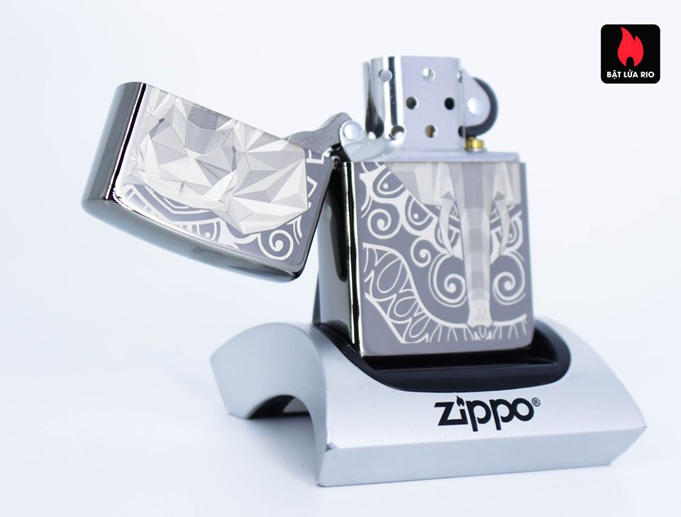 Zippo 49074 – Zippo Elephant Fancy Fill Design Black Ice 2