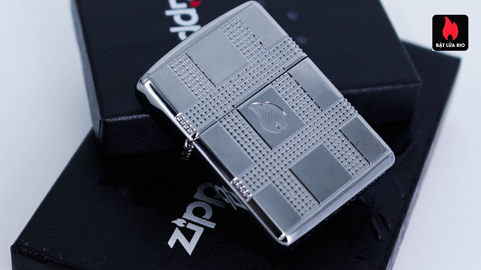 Zippo 49079 - Zippo Geometric Design Armor High Polish Chrome 14