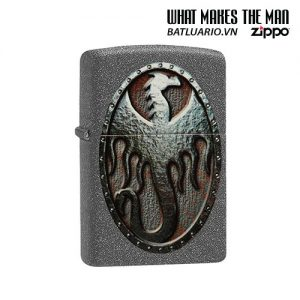 Zippo 49072 - Zippo Metal Dragon Shield Design Iron Stone