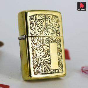 Hiếm - Zippo 1980 - Solid Brass - Venetian - Hoa Văn Ý