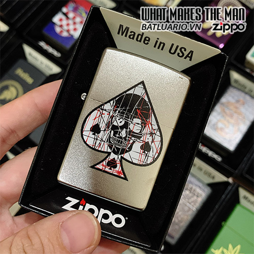Zippo 205 Ace Of Sapdes Skull
