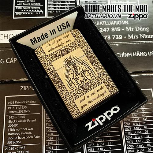 ZIPPO 250 TRẮNG BÓNG KHẮC ĐỨC MẸ 06 – ZIPPO 250.DUCME06
