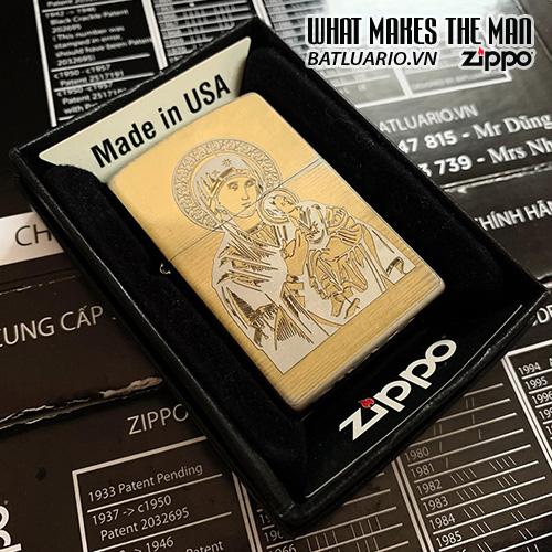 ZIPPO 250 TRẮNG BÓNG KHẮC ĐỨC MẸ BỒNG CON 03 – ZIPPO 250.DMBC03