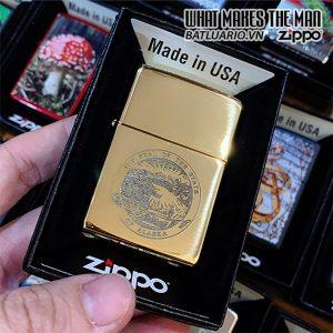 Zippo 254B Alaska State Seal High Polish Brass