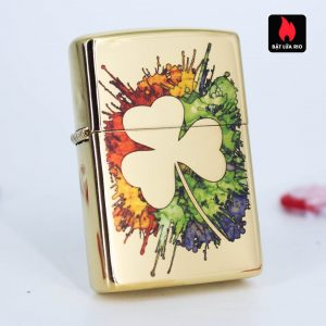 Zippo 49125 - Zippo Graffiti Clover Design High Polish Brass 2