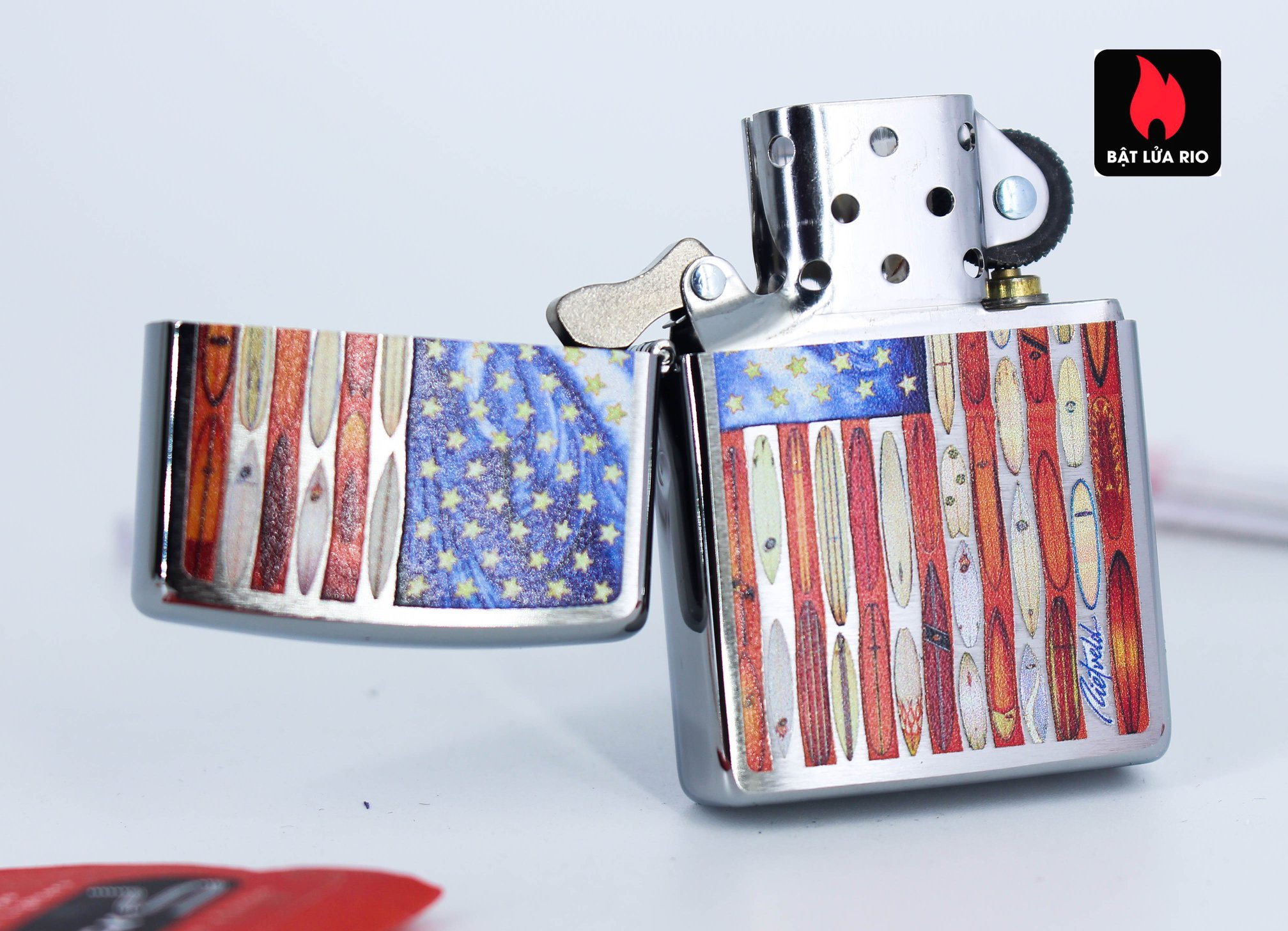 Zippo 49145 - Zipppo Rietveld American Flag Brushed Chrome 2