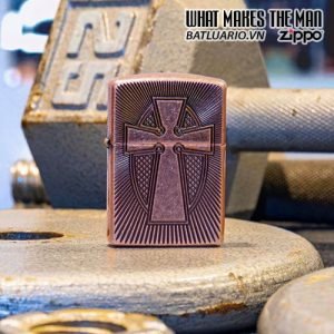 Zippo 49158 - Zippo Armor® Deep Carve Cross Design Antique Copper 1