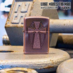 Zippo 49158 - Zippo Armor® Deep Carve Cross Design Antique Copper 1