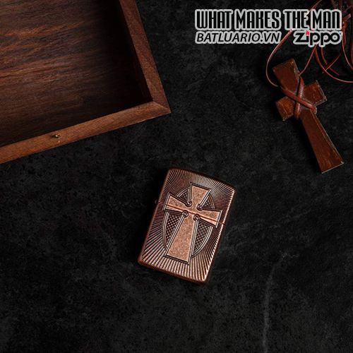 Zippo 49158 - Zippo Armor® Deep Carve Cross Design Antique Copper 2