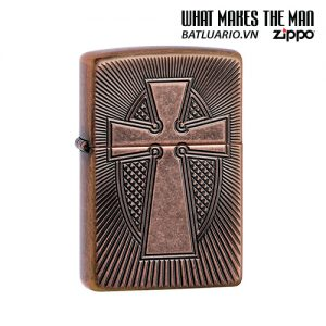 Zippo 49158 - Zippo Armor® Deep Carve Cross Design Antique Copper