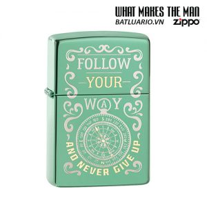 Zippo 49161 - Zippo Follow Your Way Design High Polish Green