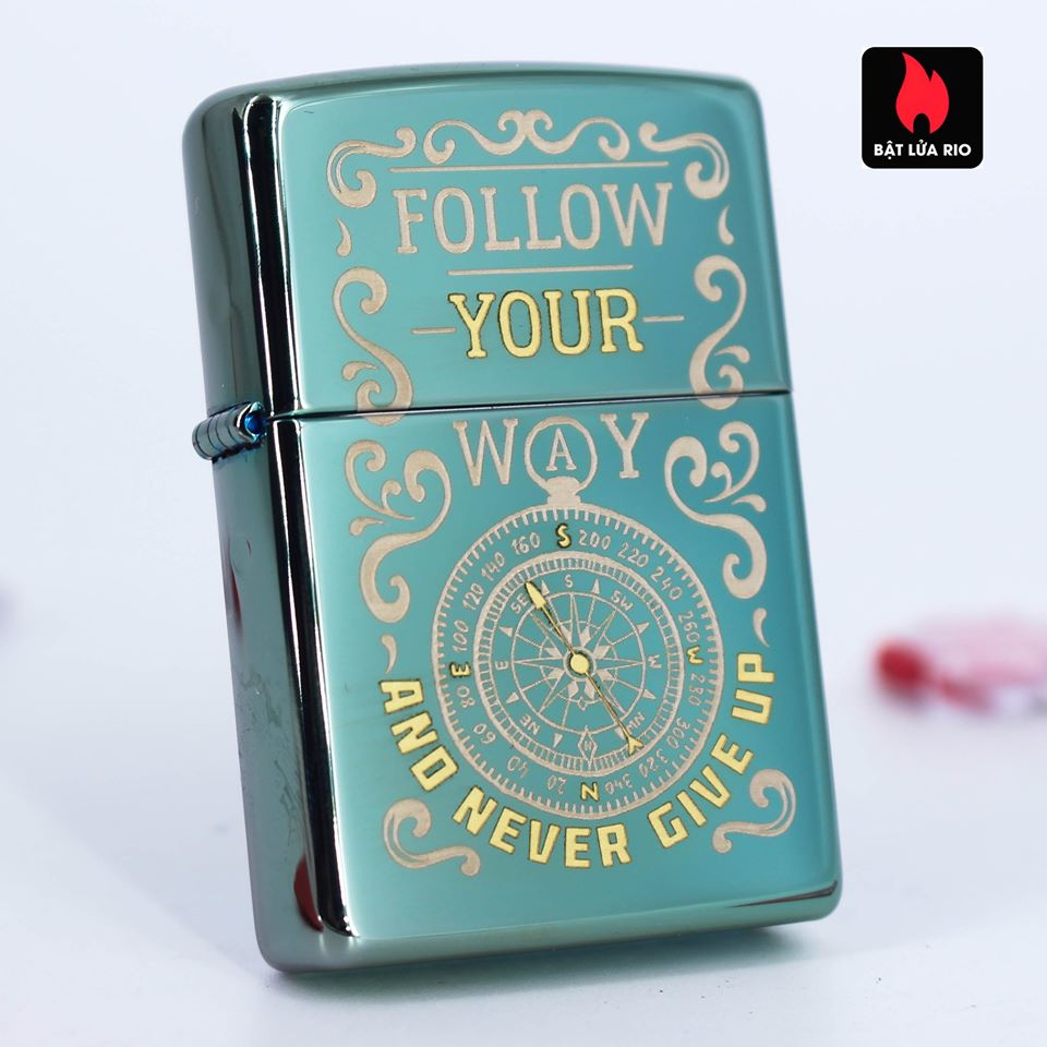 Zippo 49161 - Zippo Follow Your Way Design High Polish Green 6