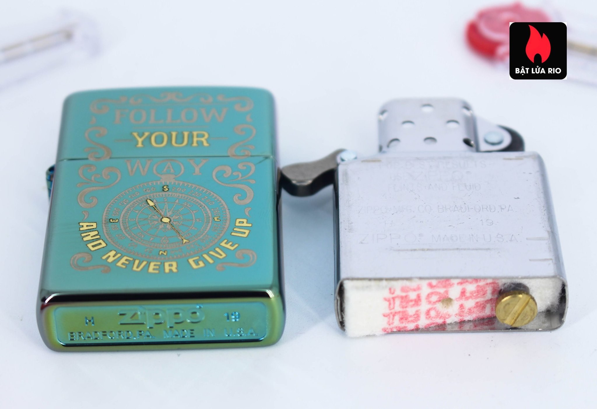 Zippo 49161 - Zippo Follow Your Way Design High Polish Green 8