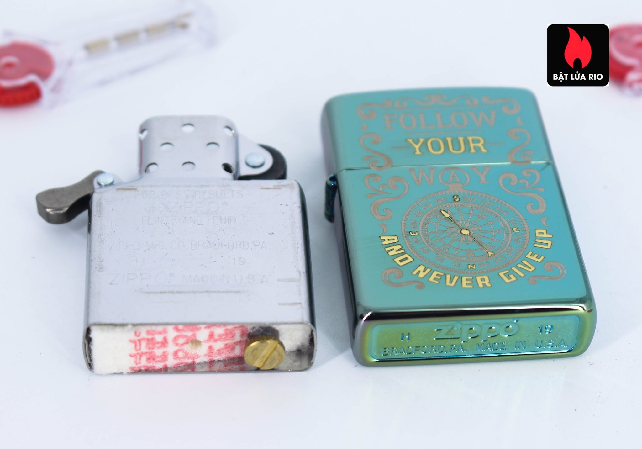 Zippo 49161 - Zippo Follow Your Way Design High Polish Green 9