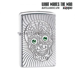 Zippo 49172 - Zippo Armor® Sugar Skull Design High Polish Chrome
