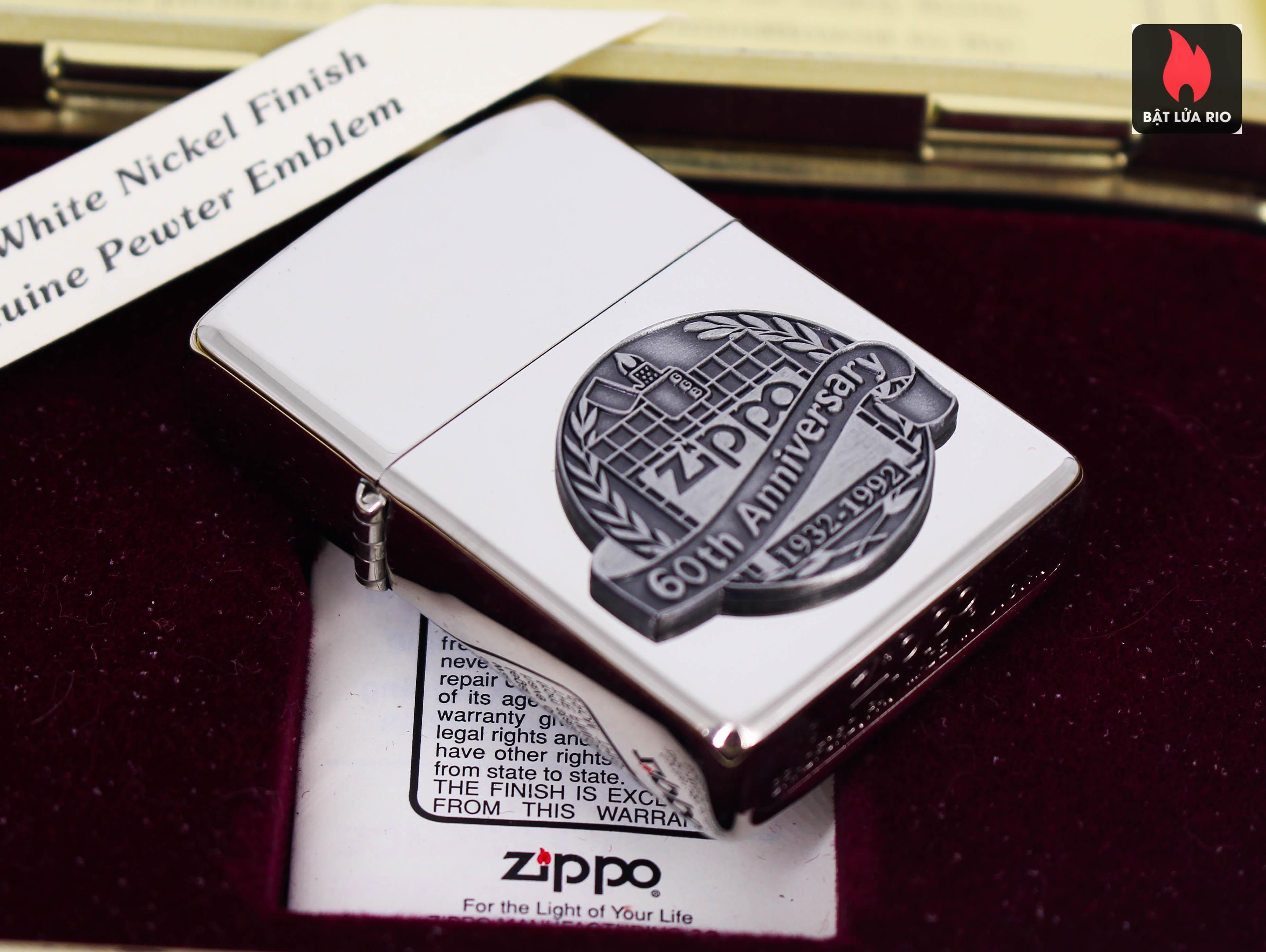 Zippo La Mã 1992 - White Nickel Finish - 60TH Anniversary 7