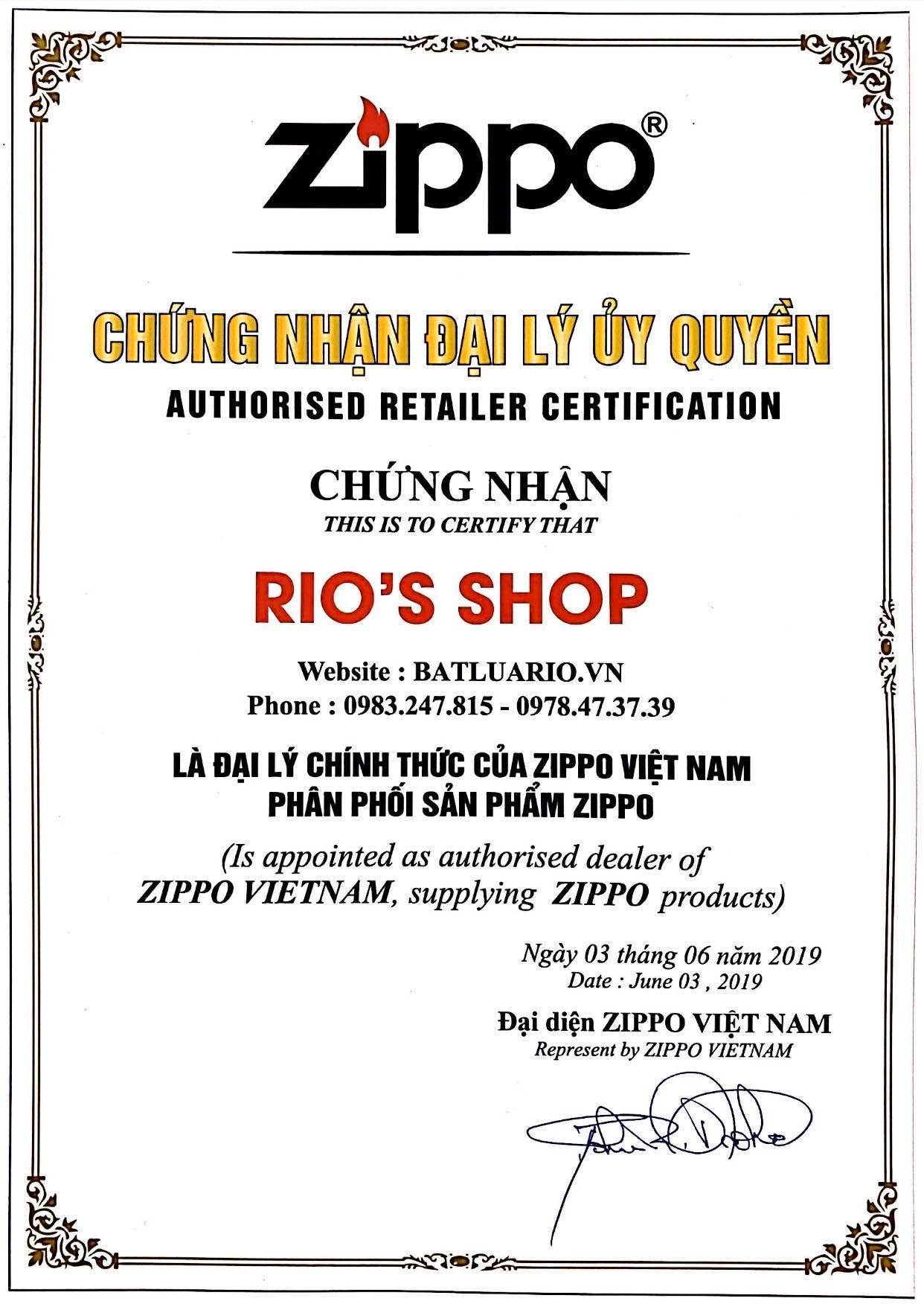 Giấy chứng nhận Đại lý Zippo chính hãng