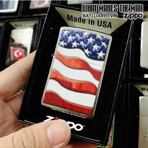Zippo 200 USA Flag Brushed Chrome