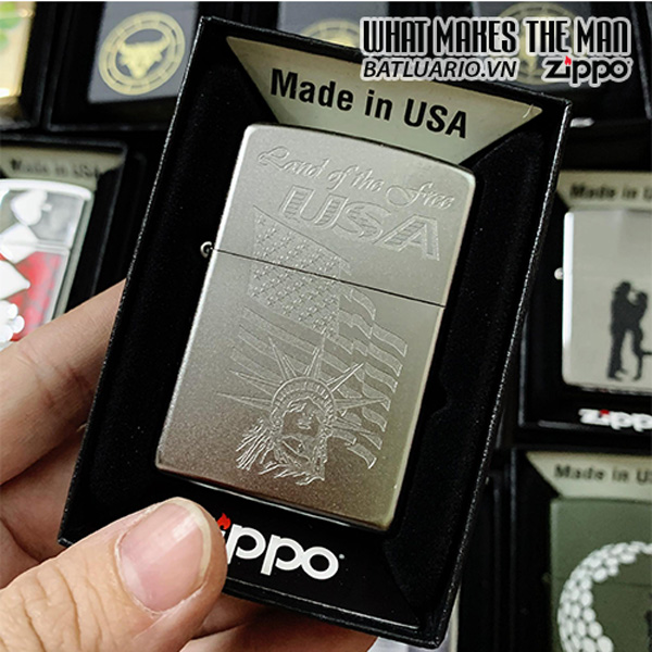 Zippo 205 Lady Liberty And Flag