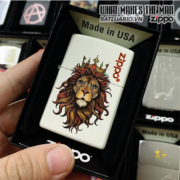 Zippo 214 Lion White Matte