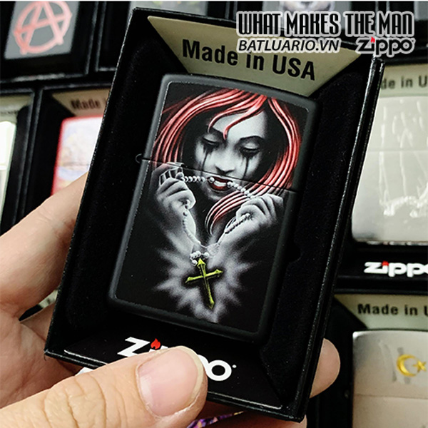 Zippo 218 Girl With Rosary Design