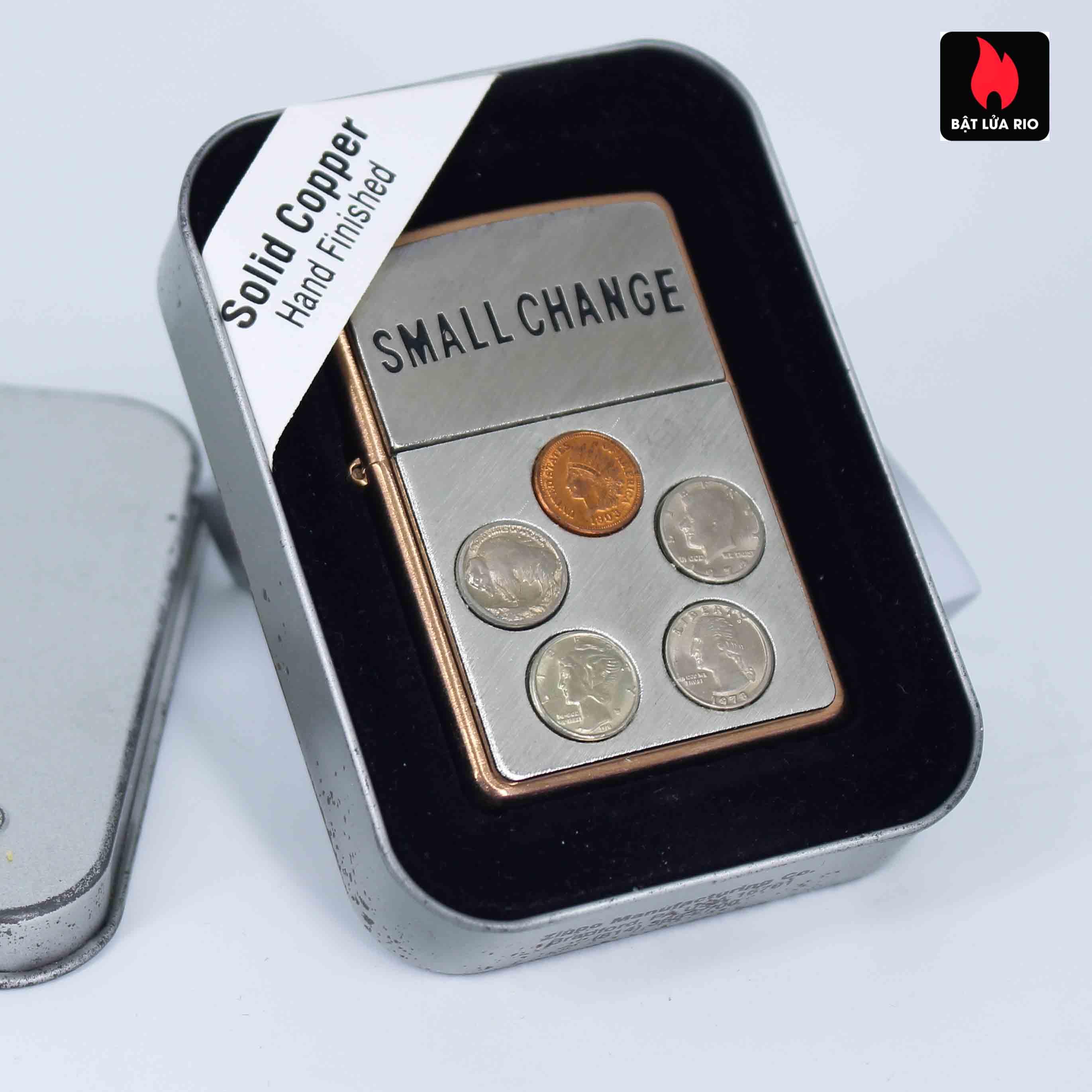 Zippo 2002 - Solid Copper Small Change - Đồng Đỏ Nguyên Khối 1