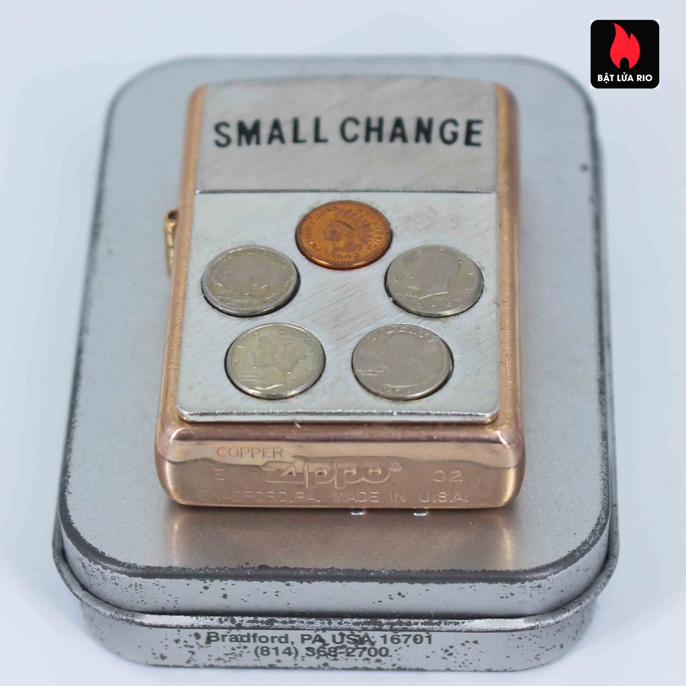 Zippo 2002 - Solid Copper Small Change - Đồng Đỏ Nguyên Khối 4