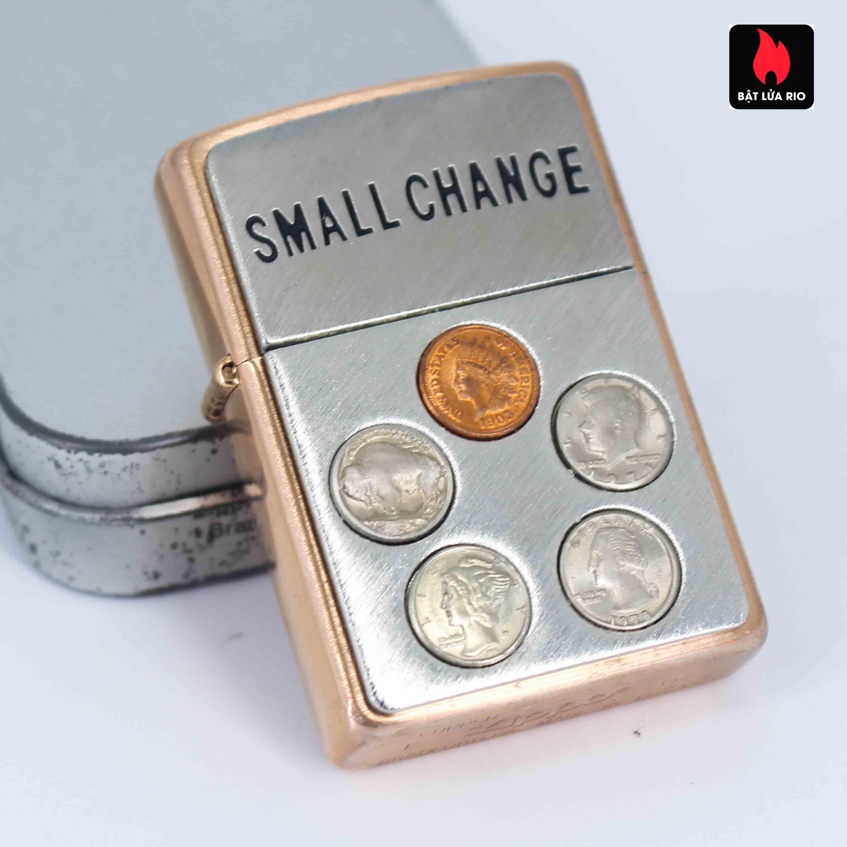 Zippo 2002 - Solid Copper Small Change - Đồng Đỏ Nguyên Khối 5
