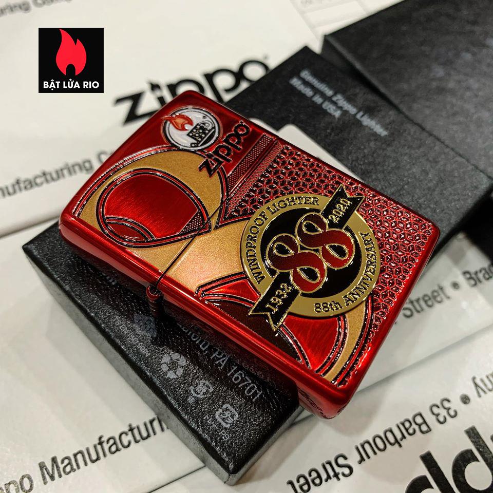 Zippo 88Th Anniversary Asia Red Color Clear Coating - Zippo Bản Đỏ Bóng Kỷ Niệm 88 Năm Ra Đời Bật Lửa Zippo - Zippo ZA-2-147B 1